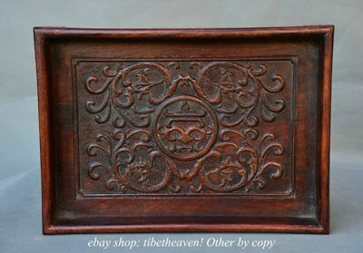 """13.8"""" Old China Huanghuali Wood Carving Flower 4 Dragon Beast Tray Pallet plate"""