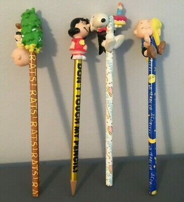 4Vintage Peanuts Characters Charlie Brown Snoopy Linus Lucy Pencils with Toppers