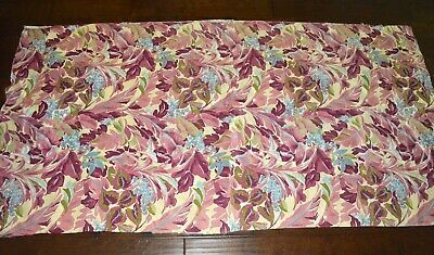 VINTAGE 1940s TROPICAL FLORAL CURTAIN PANEL UPHOLSTRY STRENGTH FABRIC BURGUNDY