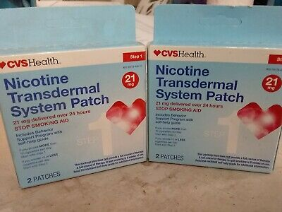 CVS HEALTH NICOTINE TRANSDERMAL SYSTEM PATCH STEP 1, 21mg 4 Patches Exp 8/18+