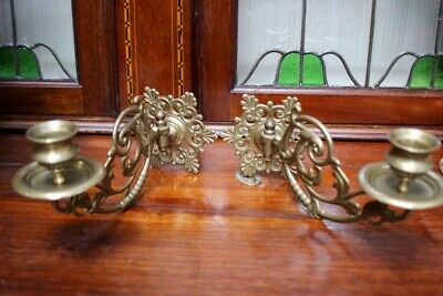 Pair of Antique Victorian Brass Piano Wall Candelabra Sconce [5267]