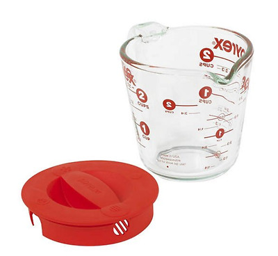 Pyrex Prepware 2-cup Measuring Cup, Red Plastic Cover, Clear