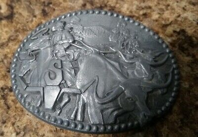 Vintage SHEPLERS Western Belt Buckle Longhorn Award Design Zee Series Cattle