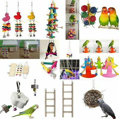 Parrot Pet Bird Chew Cages Hang Toys Wood Large Rope Cave Ladder Chew Toys E3X3
