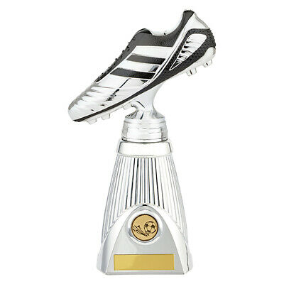 STRIKER Deluxe Football Heavyweight Trophy Boot Silver & Black FREE Engraving
