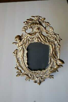 ANTIQUE ORNATE BRASS PICTURE FRAME WITH CHERUBS EARLY 1900's