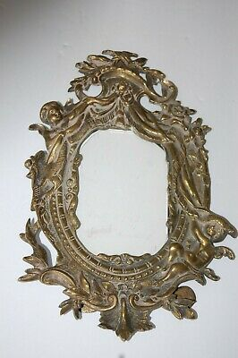 ANTIQUE ORNATE BRASS PICTURE FRAME WITH CHERUBS 1900's