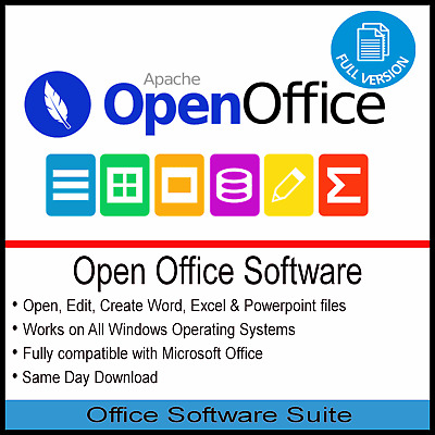 Open Office Professional Software Suite Home Student Business 2010 2013 2016