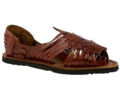 Mens Cognac Sandals Mexican Huaraches Genuine Leather Handmade Woven Open Toe