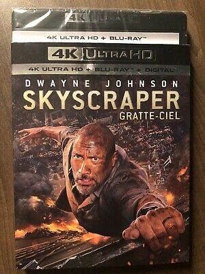 Skyscraper 4K Ultra HD & Blu-Ray w Slipcover Canada Bilingual NO DC LOOK