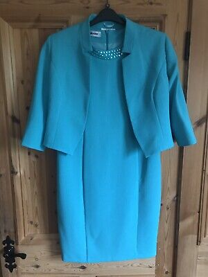 Turquoise Green Dress Jacket Sz 12 Gerard Mother Of The Bride/Groom 2 Piece