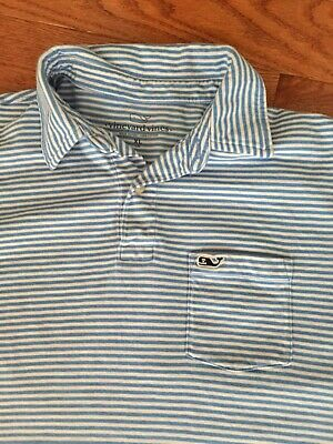 cab3d7d81 EUC Boy's Vineyard Vines Pima Cotton Polo Shirt BLUE STRIPE Pocket sz XL 18