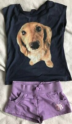 Lovely Girls Shorts And T-Shirt With Dog Image Age 6-7 Years MATALAN/F&F