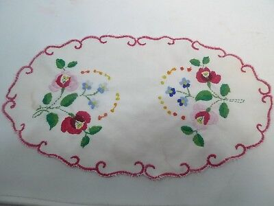 Vintage Hand Embroidered Elegant Doily Table Scarf Pink Flowers Green Leaves 14""