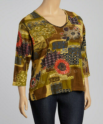 NWT L or XL Garnet Hill V-Neck Embellished Tee Taupe Colored 3//4 Sleeve $88+