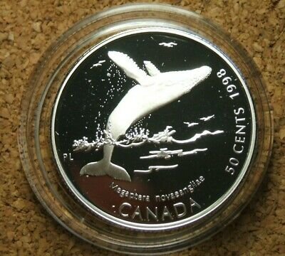 1998 Canada Ocean Giants Humpback Whale 50 Cent Sterling Silver Coin