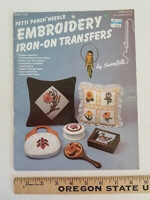 UNUSED Petti Punch Needle Embroidery Iron -On Transfers Booklet EMBROIDERY MOTIF