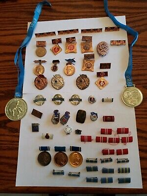 Large Lot 58 Pieces East German DDR Cold War Medals Pins Ribbons