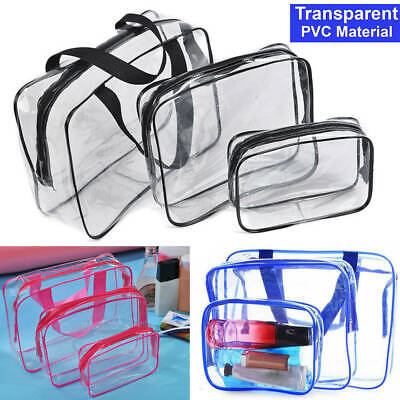3Pcs PVC Clear Cosmetic Makeup Toiletry Bag Case Travel Holder Pouch Wash Set