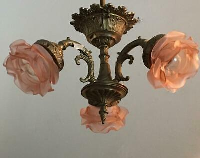 Antique French Brass & Pink Flower Glass Shade Petite Chandelier Ceiling Lamp