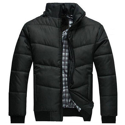 Mens Winter Padded Down Coat Slim Fit Thicken Casual Hooded Quilted Jacket Black