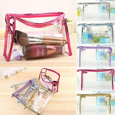 Clear Travel Makeup Cosmetic Toiletry Bags Womens Girl Transparent Plastic Bag