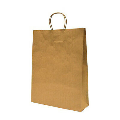 100x Paper Carry Bag Kraft Brown 420x320x110mm Twist Paper Handle Take Away