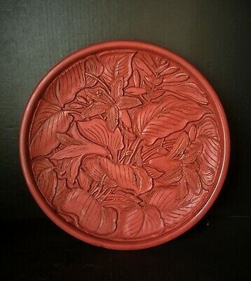 14th century Yuan dynasty wooden carved with cinnabar lacquer plate (元代木胎萱草纹漆盘 )