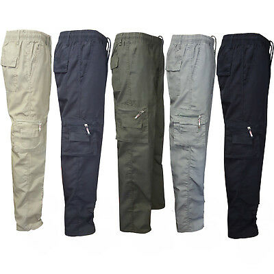 Mens Cargo Combat Work Trousers Elastic Waist Bottoms Straight Leg Pants AU
