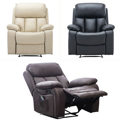 Electric Leather Recliner Arm Chair Massage Heated Sofa Reclining Gaming Cinema