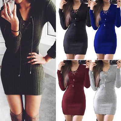 Women Lace Up V Neck Knitted Bodycon Jumper Dress Winter Party Short Mini Dress