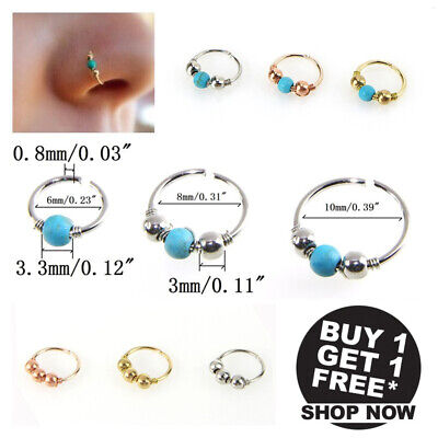 2Pcs Surgical Steel Open Nose Ring Hoop Lip Ring Small Thin Piercing Turquoise