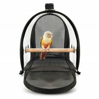 Oiseau Cage Support Nid Animal Perroquet Voyage Respirant Transparent Main Dos