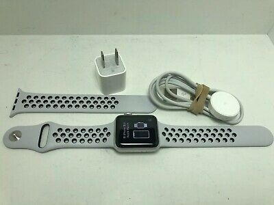 Used Apple Watch Series 3 Nike+ 38mm Silver Aluminium Case All OEM Accessories.