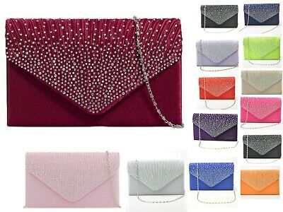 Women's Satin diamante Clutch Bag Evening Bridal Wedding Fashion Prom Handbag