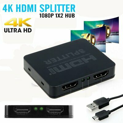 HD HDMI Splitter 1X2 Repeater Amplifier 3D 1080p 4K Switch Box 1 in 2 Out