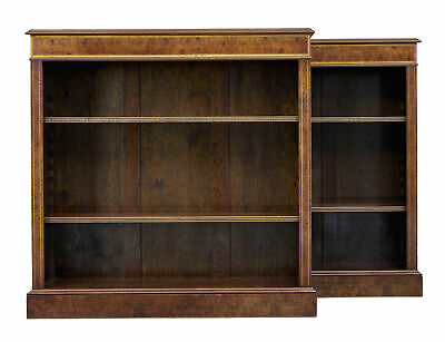 Pair Of Burr Walnut Low Open Bookcases