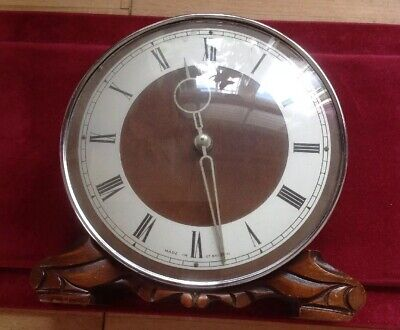 Old Vintage Art Deco Mantle Clock Wood & Chrome Made Great Britain Working