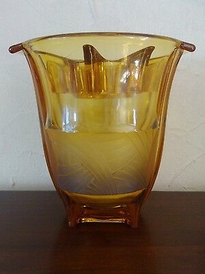 Rare Art Deco 1930S Walther Sohne Amber Glass Orient Vase Frosted Panle + Insert