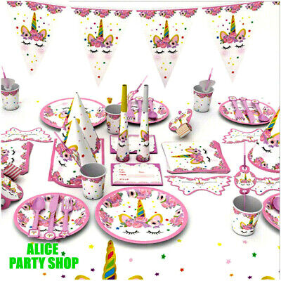 NEWEST UNICORN Birthday Supplies PARTY CUP Plate Napkins Table cover BALLOON