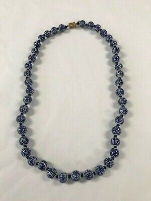 "Vintage Old Chinese Asian Blue/White Porcelain Bead 24"" Long Round Ball Necklace"