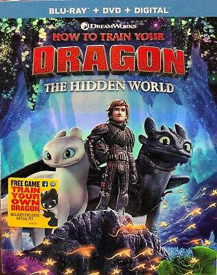 How To Train Your Dragon The Hidden World (Blu Ray+DVD+Digital) NEW W/SLIPCOVER