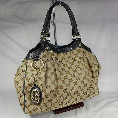 1a320fbfc5a504 Authentic Rare Gucci Sukey Brown GG Canvas Medium Tote Handbag Purse Well  Used