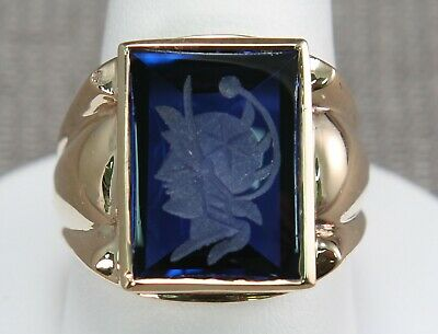 Vintage 10K gold Blue Stone carved Wax Seal Roman head cameo soldier ring 8.8 Gr