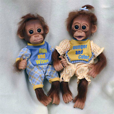 Ashton Drake -OLDER/WISER YOUNGER/CUTER monkey doll twins by Cindy Sales