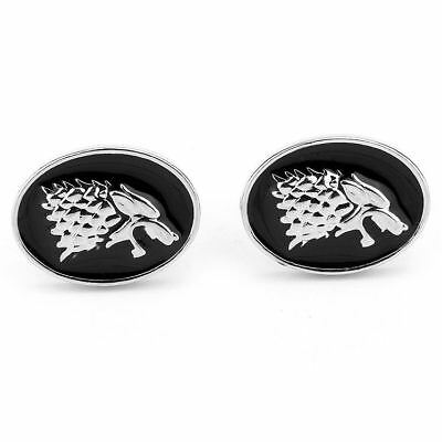 HOUSE OF STARK WOLF CUFFLINKS winter is coming game of thrones direwolf GOT