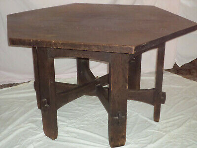 "Gustav Stickley Arts & Craft Hexagonal 55"" Oak Library Table ANTIQUE 1902 -3 z"