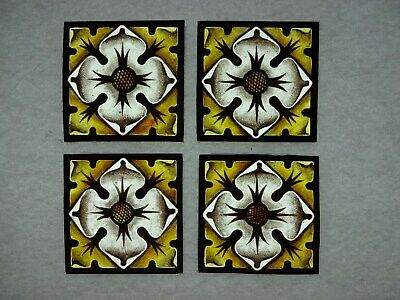 Beautiful Stained glass.FLOWERS.Hand painted.Kiln fired.75 x75mm.Antique style.