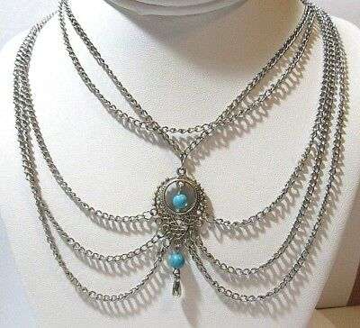 Silver Tone Chain Modern Fashion Necklace Faux Turquoise Color Stones Festoon