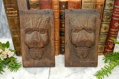 Antique Pair German Black Forest Carved Wood Lion Heads Corbels Brackets